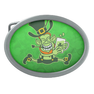 Leprechaun Running and Holding a Glass of Beer Oval Belt Buckle