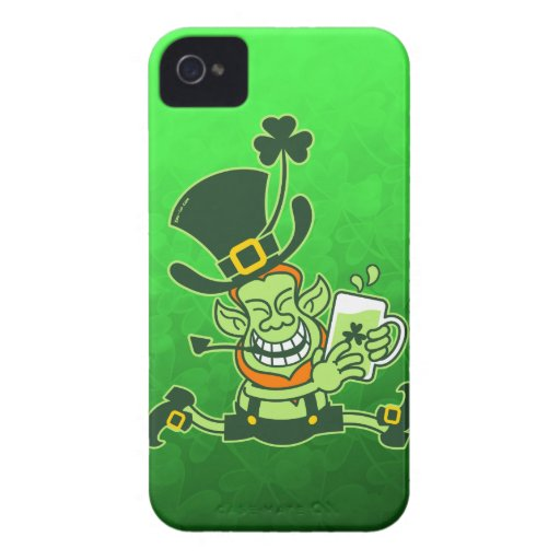 Leprechaun Running and Holding a Glass of Beer iPhone 4 Cases