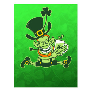 Leprechaun Running and Holding a Glass of Beer Postcard