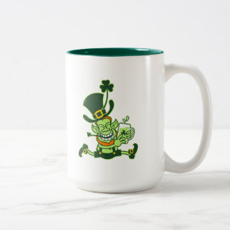 Leprechaun Running and Holding a Glass of Beer Two-Tone Coffee Mug