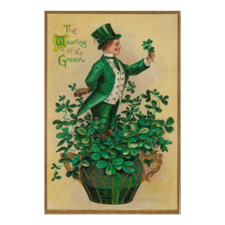 Leprechaun Shamrock Clay Pipe Harp of Erin Poster