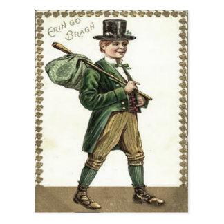 Leprechaun Shamrock Hobo Bindle Postcard