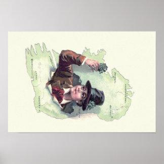 Leprechaun Shamrock Ireland Island Poster