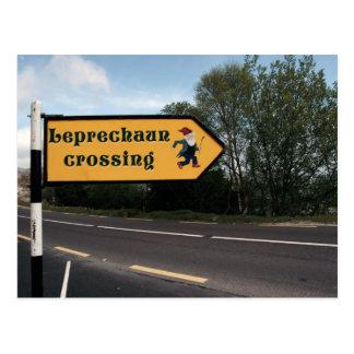 leprechaun sign postcard