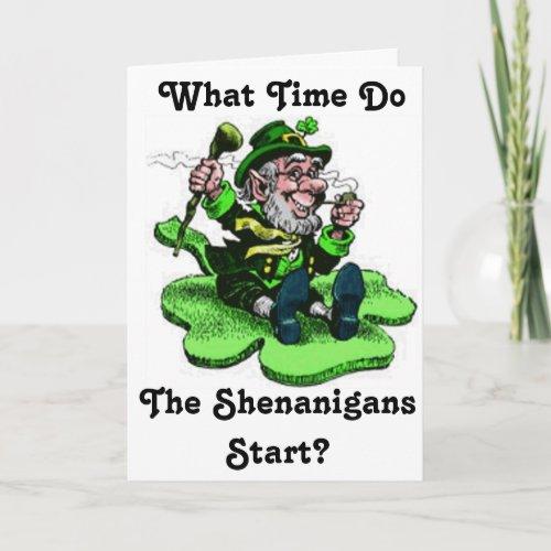Leprechaun Sitting On A Shamrock Card