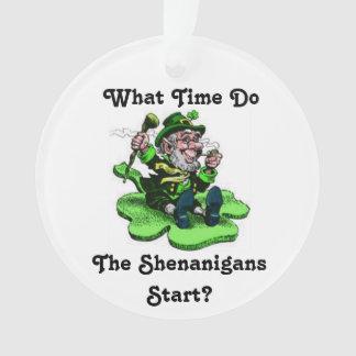 Leprechaun Sitting On A Shamrock Ornament