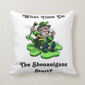 Leprechaun Sitting On A Shamrock Throw Pillow