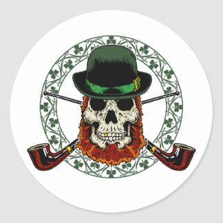 Leprechaun Skull Classic Round Sticker