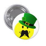 Leprechaun Smiley Mustache Button