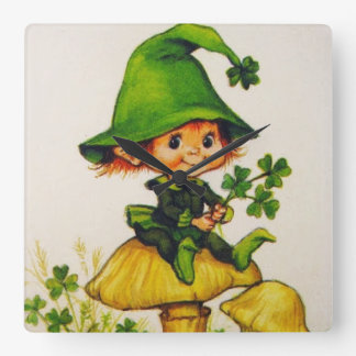 Leprechaun Square Wall Clock