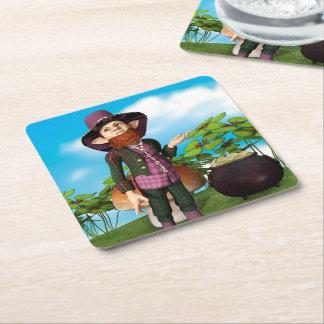 Leprechaun Square Paper Coaster