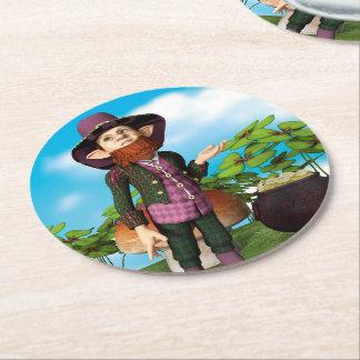 Leprechaun Round Paper Coaster