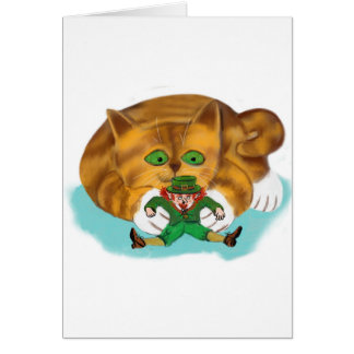 Leprechaun Trapped by a Kitten's Paws Card