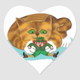 Leprechaun Trapped by a Kitten's Paws Heart Sticker