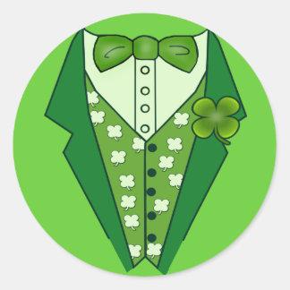 Leprechaun Vest Tshirt for St Patricks Day Round Stickers