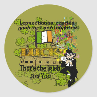 Leprechauns, castles, good luck and laughter classic round sticker