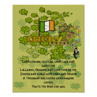 Leprechauns Castles Good Luck and Laughter Poster