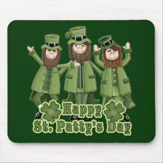 Leprechauns del día del St Patty feliz Tapetes De Raton
