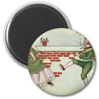 Leprechauns in love 2 inch round magnet