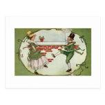 Leprechauns in love postcard