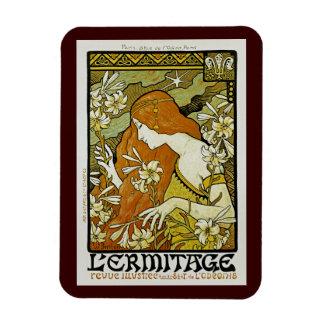 L'Ermitage Art Nouveau Floral Rectangular Photo Magnet