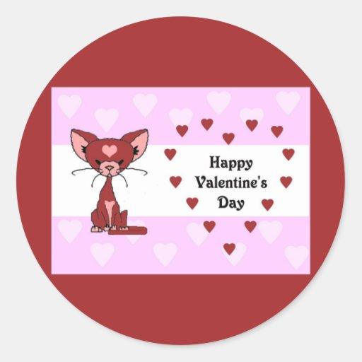 Leroy el gato - el día de San Valentín (resuelva Pegatinas Redondas