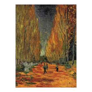 Les Alyscamps by Vincent van Gogh. Fall, autumn 5.5x7.5 Paper Invitation Card