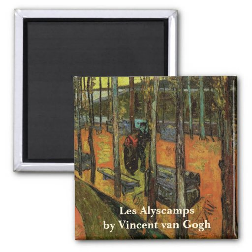 Les Alyscamps (Cemetery) by Vincent van Gogh 2 Inch Square Magnet