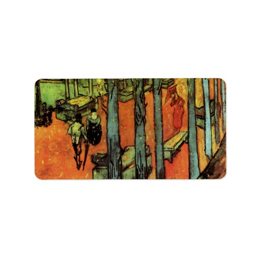 Les Alyscamps Falling Autumn Leaves by van Gogh Address Label