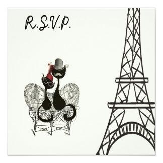Les Aristochats Noirs - pasión francesa 2 Invitación 13,3 Cm X 13,3cm