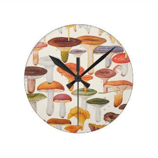 Les Champignons Mushrooms Round Clock