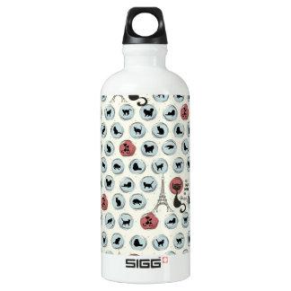 Les Chats Noirs de Paris Aluminum Water Bottle