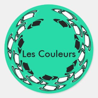 Les Couleurs Vert et Noir Classic Round Sticker