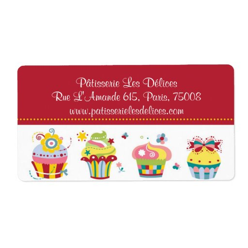 Les Cupcakes - Cute Bakery Customizable Labels