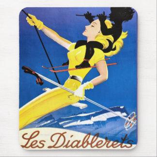 Les Diablerets, Switzerland, Vintage ski poster Mouse Pad