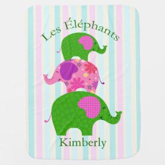 """Les Elephants"" Geen and Pink Pastel Stroller Blanket"