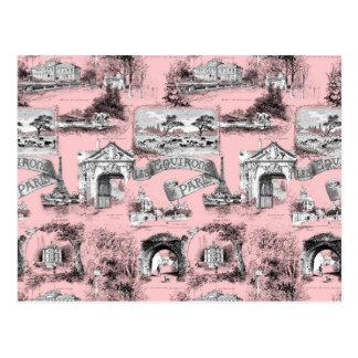 Les Environs de Paris ~ Dauphine Pink Postcard