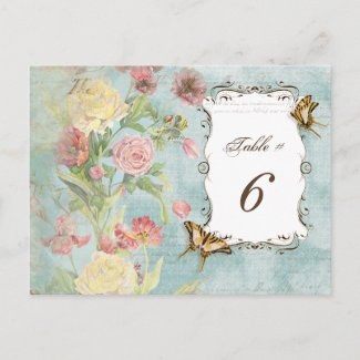 Les Fleur Pavoine - Rose n Peony Table Number Card postcard