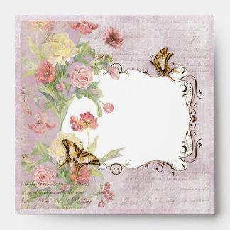 Les Fleurs Peony Rose Tulip Floral Flowers Wedding Envelopes
