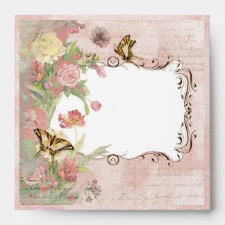 Les Fleurs Peony Rose Tulip Floral Flowers Wedding Envelope