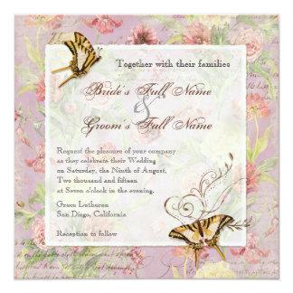 Les Fleurs Peony Rose Tulip Floral Flowers Wedding 5.25x5.25 Square Paper Invitation Card