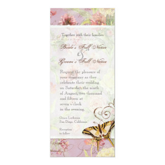 Les Fleurs Peony Rose Tulip Floral Flowers Wedding 4x9.25 Paper Invitation Card