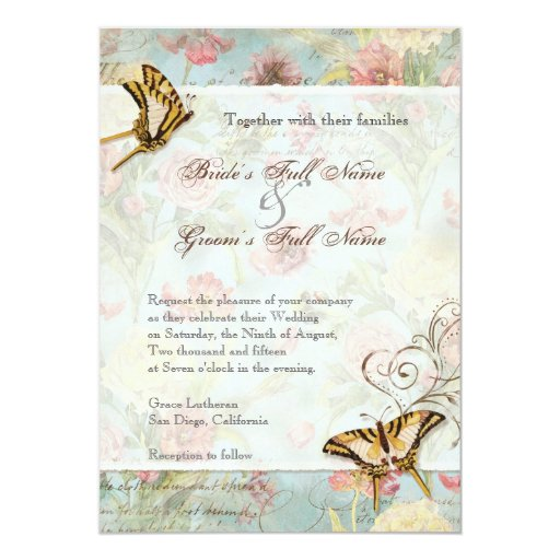 Les Fleurs Peony Rose Tulip Floral Flowers Wedding Personalized Announcement