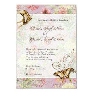 Les Fleurs Peony Rose Tulip Floral Flowers Wedding 5x7 Paper Invitation Card