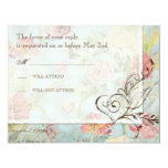 Les Fleurs Peony Rose Tulip Floral Flowers Wedding 4.25x5.5 Paper Invitation Card