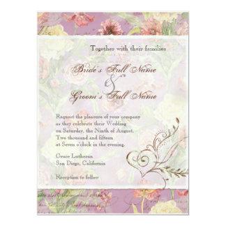 Les Fleurs Peony Rose Tulip Floral Flowers Wedding 6.5x8.75 Paper Invitation Card