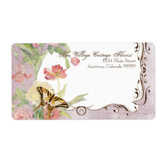 Les Fleurs Peony Rose Tulip Floral Flowers Wedding Shipping Label