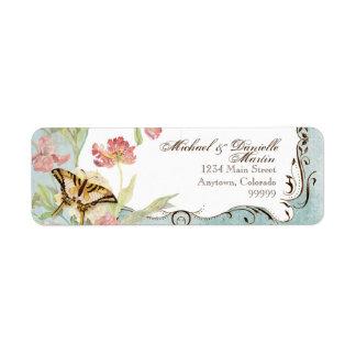 Les Fleurs Peony Rose Tulip Floral Flowers Wedding Return Address Label