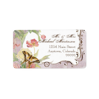 Les Fleurs Peony Rose Tulip Floral Flowers Wedding Address Label