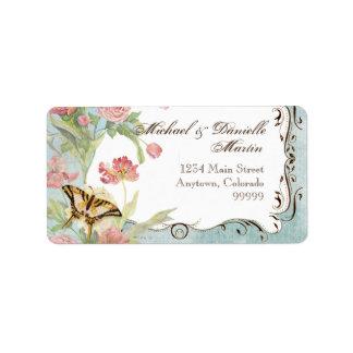 Les Fleurs Peony Rose Tulip Floral Flowers Wedding Label